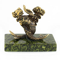 """Сувенир статуэтка знак зодиака """"Рыбы"""" из бронзы и камня"""