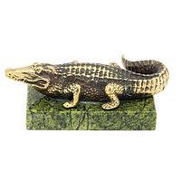 """Статуэтка """"Крокодил"""" большой бронза змеевик"""