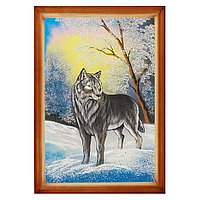 "Картина ""Волк"" багет дерево 46х66 см, каменная крошка"