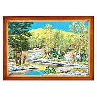 """Картина """"Весенний пейзаж"""" багет дерево 46х66 см, каменная крошка"""