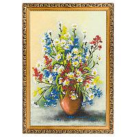 "Картина ""Натюрморт полевые цветы"" багет 46х66 см, каменная крошка"
