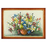 """Картина из каменной крошки """"Полевые цветы"""" багет дерево 46х66 см"""