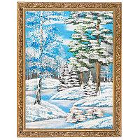 """Картина """"Зимний пейзаж"""" багет 36х46 см, каменная крошка"""
