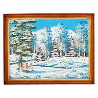 """Картина """"Зимний пейзаж"""" багет дерево 36х46 см, каменная крошка"""