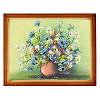 """Картина """"Полевые цветы в вазе"""" багет дерево 36х46 см, каменная крошка"""
