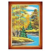 """Картина """"Осенний пейзаж"""" багет дерево 24х34 см, каменная крошка"""