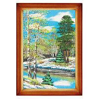 """Картина """"Весенний пейзаж"""" багет дерево 24х34 см, каменная крошка"""