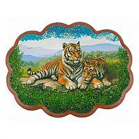 "Панно с рисунком из камня ""Пара тигров"" 25х19 см"