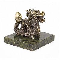 """Статуэтка из бронзы на подставке из змеевика """"Дракон"""""""