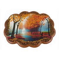 """Панно с рисунком из камня """"Осень в парке"""" 25х19 см"""