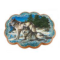 """Панно из камня """"Два волка"""" 25х19 см"""