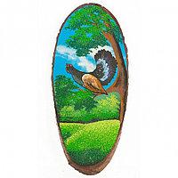 """Картина на срезе дерева """"Глухарь на ветке"""" 65-70 см рисунок каменная крошка"""