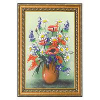 """Картина с рисунком из камня """"Натюрморт полевые цветы"""" багет 24х34 см"""