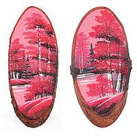 """Панно на срезе дерева """"Розовый закат"""" вертикальное 25-30 см каменная крошка"""