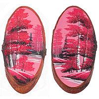 """Картина на спиле дерева """"Розовый закат"""" вертикальное 30-35 см рисунок из каменной крошки"""