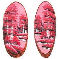 """Панно на срезе дерева """"Розовый закат"""" вертикальное 60-65 см каменная крошка"""