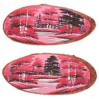 """Панно на срезе дерева """"Розовый закат"""" горизонтальное 60-65 см каменная крошка"""