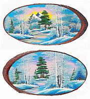 """Панно на срезе дерева """"Зима"""" горизонтальное 65-70 см каменная крошка"""