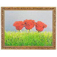 """Картина с каменной крошкой """"Три розы"""" багет гипс 34х44 см ZD04"""