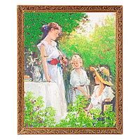 """Картина с каменной крошкой """"Завтрак в парке"""" багет 46х56 см 7280"""