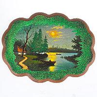 """Панно с рисунком из камня """"Солнечное озеро"""" 25х19 см"""