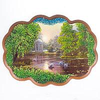 """Панно с рисунком из камня """"Утренний парк"""" 25х19 см"""