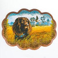 """Панно с рисунком из камня """"Спаниель в поле"""" 25х19 см"""