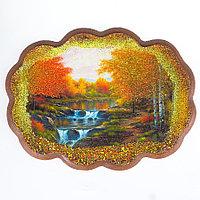 "Панно с рисунком из камня ""Водопад"" 25х19 см"