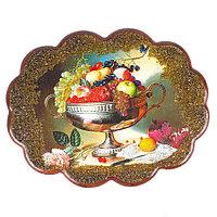"Панно с рисунком из камня ""Ваза с фруктами"" 34х26 см"
