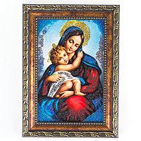 Икона Дева Мария рамка багет 10х15 см, каменная крошка