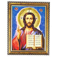 Икона Спаситель рамка багет 15х20 см, каменная крошка