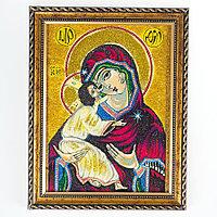 Икона Владимирская рамка багет 15х20 см, каменная крошка