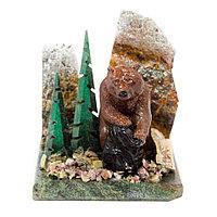 """Сувенир """"Медведь на камне"""" из змеевика"""