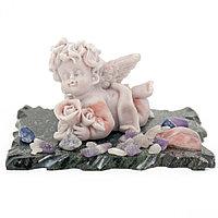 "Сувенир ""Ангелочек с розой"" из мрамолита"