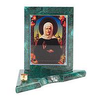 Икона с подсвечником Матрона Московская малая из змеевика 9,5х9,5х10 см