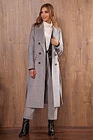 Женское осеннее драповое серое пальто Nova Line 10105 серый 52р.