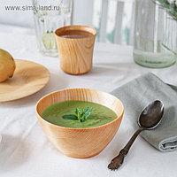 Набор посуды из натурального кедра Magistro, 19×2 см, 13×7 см, 180 мл, цвет молочный