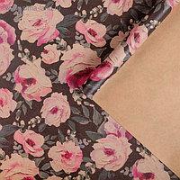 """Бумага упаковочная крафтовая """"Крупные цветы""""50х70 см"""