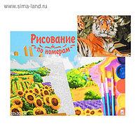 Картина по номерам на холсте 22 × 30 см, «Тигр в джунглях»