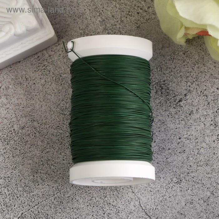 Проволока для флористики на катушке 100 м, 0,35мм, зеленый - фото 1