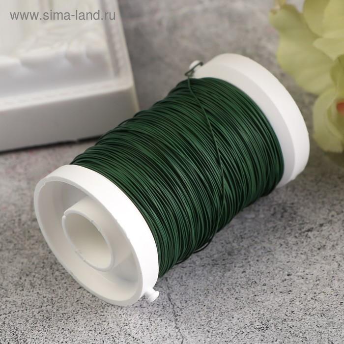 Проволока для флористики на катушке 100 м, 0,35мм, зеленый - фото 2
