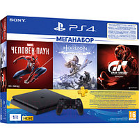 Sony PlayStation 4 1TB + GTS/HZD CE/SpiderM, (PS719391302)