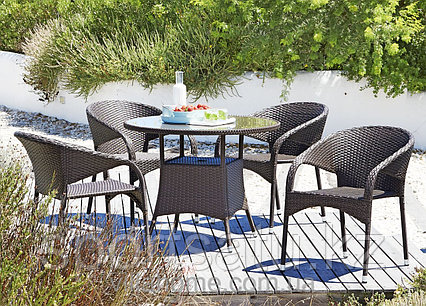 Комплект садовой мебели (стол+4 кресла) из ротанга