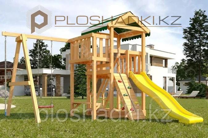 Детская площадка Савушка Мастер 1, канат, игровой столик, качели, песочница, альпинистская стенка.