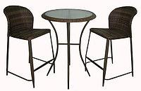 Комплект барной мебели, стол+2стула, искусственный ротанг