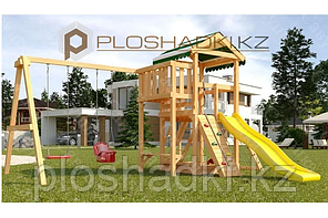 Детская площадка Савушка Мастер 2, игровая башня, балкон, качели, песочница, лавочки, лестница, сетка-лазалка.