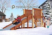 Детская площадка Савушка Зима 1, (4,0 х 1,3 х 1,7), заливной скат, лестница со ступенями и перилами