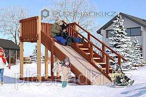 Детская площадка Савушка Зима-3, (3,6 х 1,9 х 2,2), заливной скат, пологая лестница с перилами.