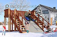 Детская зимняя площадка Савушка Зима-4, (3,6 х 3,6 х 2,2), заливной скат, 2 лестницы.