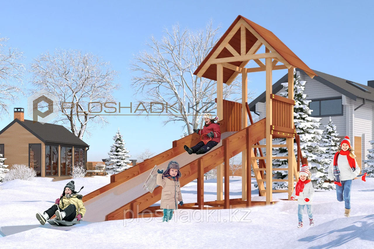 Детская площадка Савушка Зима-5, (6,8 х 2,2 х 3,8), заливной скат, пологая лестница с перилами.